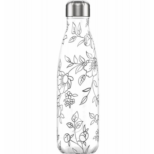 Botella Isotérmica Chilly's Edición Line Art Flores 500 ml