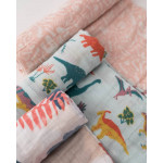 Pack de 3 Muselinas algodón Little Unicorn Embroidosaurus